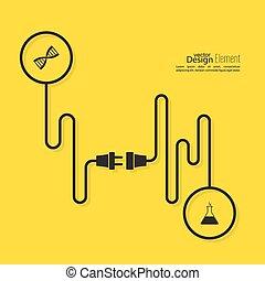 stekker, socket., abstract, draad, achtergrond