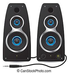 stekker, stereo, sprekers