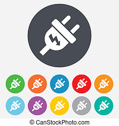 stekker, stroom, energie, symbool., meldingsbord, icon.