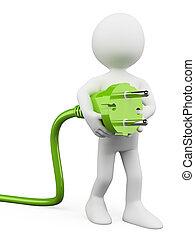 stekker, witte , groene, mensen., 3d