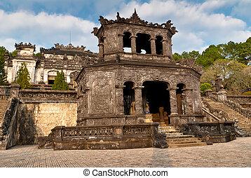stele, パビリオン, 中に, khai, dinh, 墓, 色合い, ベトナム