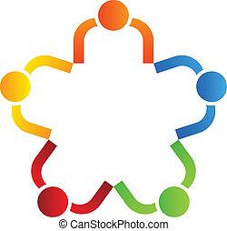 stella, affari, 5, squadra, logotipo, disegno