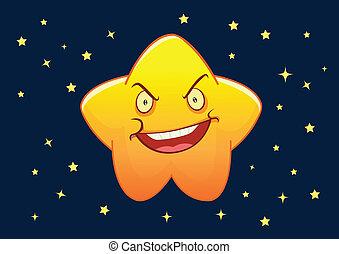 stella, arrabbiato, carattere, illustrazione, vettore, cartone animato