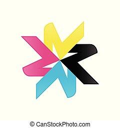 stella, astratto, geometrico, cmyk, colori, bobina, simbolo