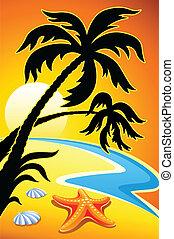 stella, astratto, palma, mare, tramonto, paesaggio