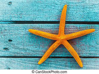 stella blu, assi, starfish, legno, mare, arancia, o