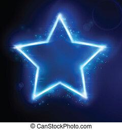 stella blu, con, effetto leggero