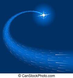 stella blu, effetto leggero, scoppi, fondo, scintille, splendore