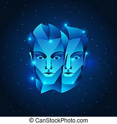 stella blu, segnale oroscopo, simbolo., gemelli, zodiaco