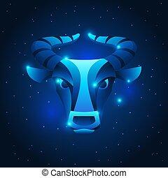 stella blu, segnale oroscopo, simbolo., toro, zodiaco