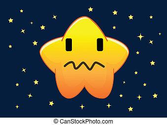 stella, carattere, illustrazione, vettore, confuso, cartone animato
