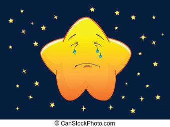 stella, carattere, illustrazione, vettore, pianto, cartone animato