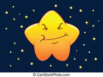 stella, carattere, illustrazione, vettore, umore, cartone animato