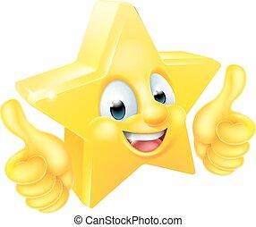 stella, cartone animato, mascotte, dare, pollici