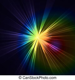 stella, colorito, astratto, lampo, light., che esplode