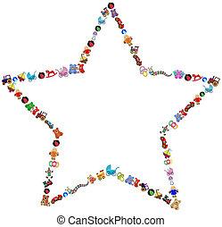 stella, con, giocattoli, bordo