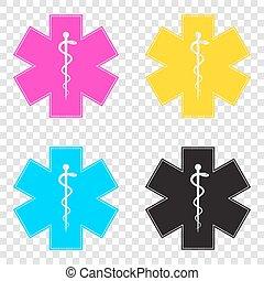 stella, emergenza, icone, medico, o, cmyk, t, life., simbolo
