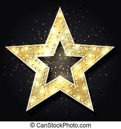 stella, film, cornice, lights., elemento, forma, vettore, disegno, pubblicità, stelle, tabellone, hollywood, 3d, retro