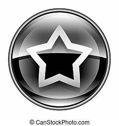 stella, icona, nero, isolato, bianco, fondo.