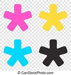 stella, icone, segno., asterisco, cmyk, fondo., trasparente, cyan