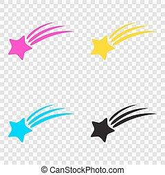 stella, icone, segno., cmyk, fondo., riprese, trasparente, cyan
