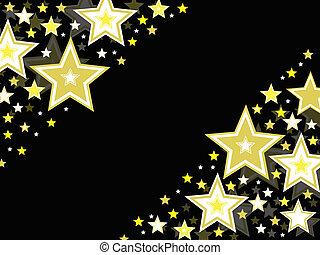 stella, nero, oro, fondo