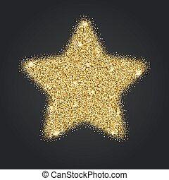 stella, oro, cinque-puntuto, scintille, brillare, icona