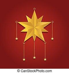 stella rossa, brillare, festivo, fondo, oro, scoppio
