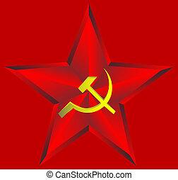 stella rossa, su, sfondo rosso