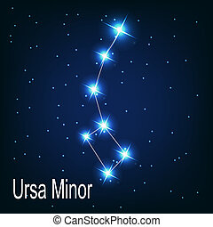 """"""", stella, sky., illustrazione, vettore, minor"""", notte,..."""