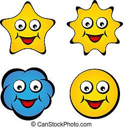 stella, sole, smiley fronteggiano, vettore, sorridente, cartone animato, nuvola