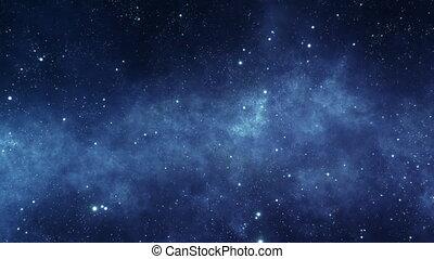 stellaire, en mouvement, par, espace