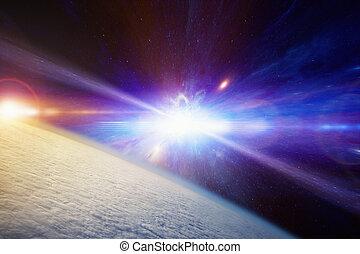 stellaire, supernova, explosion, catastrophique