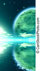 Stellar Symmetry - A giant moon on the Horizon