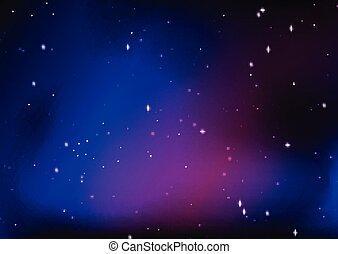 stellato, astratto, cielo, notte, disegno