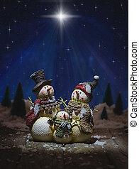 stellato, natale, sotto, cielo, snowmen, notte