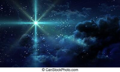 stellato, notte, verde, stare