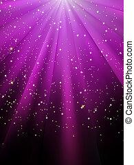 stelle, ara, cadere, su, viola, luminoso, rays., eps, 8
