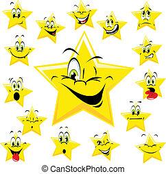 stelle, con, molti, espressioni