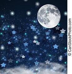 stelle, fondo, natale, luna