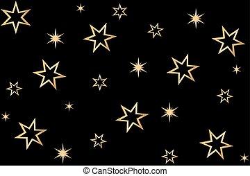 stelle, nero, oro, fondo
