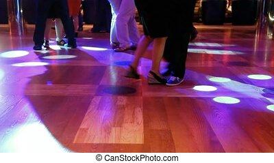 stellen, avond, dancing, op, nightclub, voetjes, afsluiten