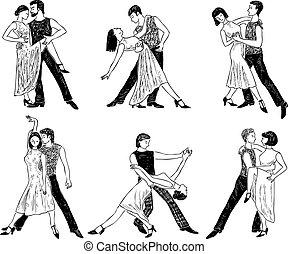 stellen, dancing, schetsen