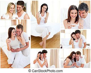 stellen, het koesteren, na, positieve zwangerschapstest, collage
