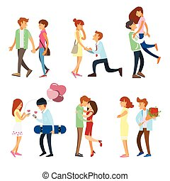 stellen, stijl, set, romantische, mensen