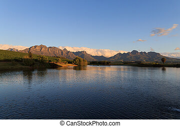 Stellenbosch - A Stellenboscsh panorama with tipical rows of...