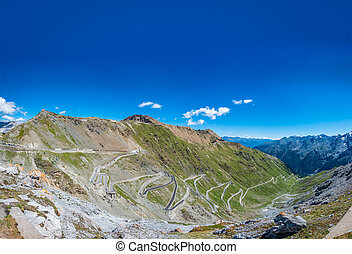 Stelvio mountain top ascending kilometers with u-shape ...