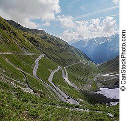 Stelvio pass in the Alps