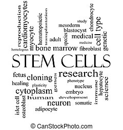 Stem Cells Word Cloud Concept in black and white with great...