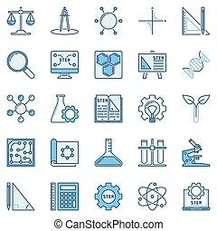 STEM colored icons set - vector concept logo elements - STEM...